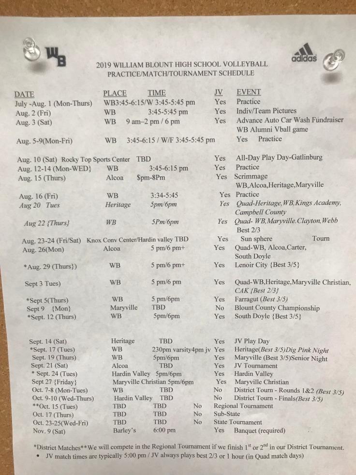 2019 William Blount Volleyball Schedule